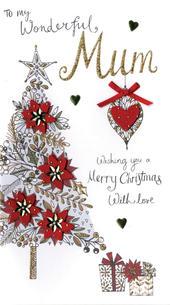 Mum Embellished Christmas Card