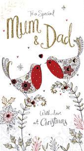 Mum & Dad Embellished Christmas Card