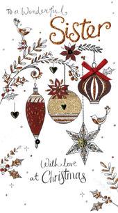 Sister Embellished Christmas Card