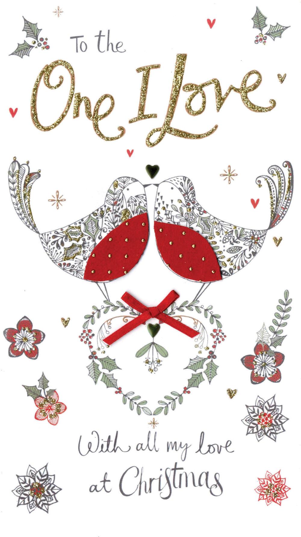 one i love embellished christmas card  cards