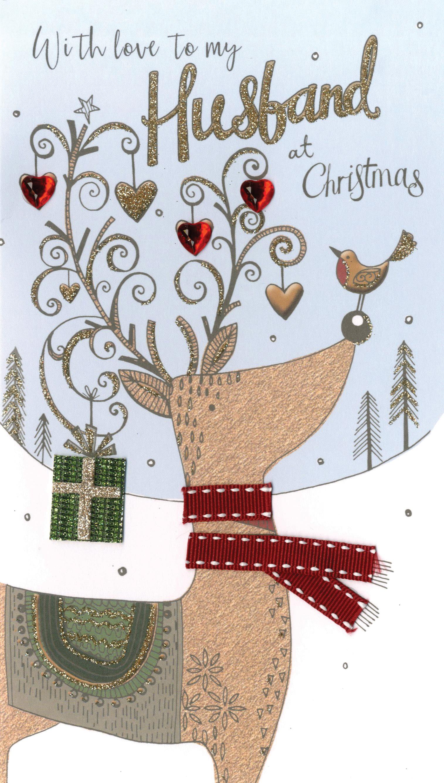 Husband Embellished Christmas Card   Cards