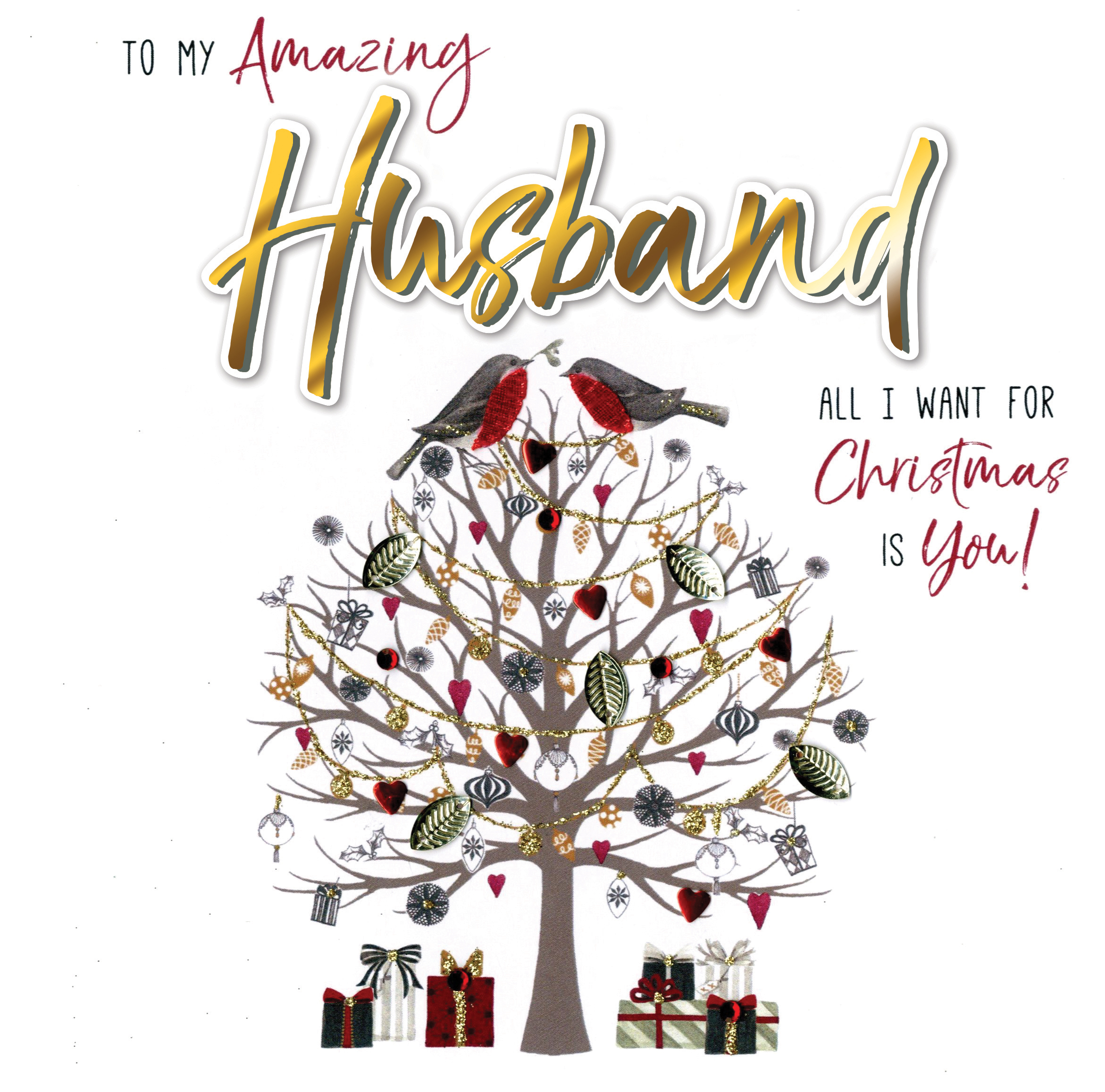 Husband Christmas Cards.Amazing Husband Special Luxury Handmade Christmas Card