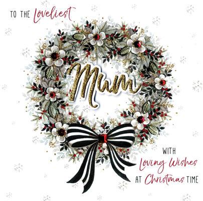 Loveliest Mum Special Luxury Handmade Christmas Card