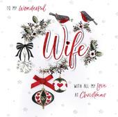 Wonderful Wife Special Luxury Handmade Christmas Card