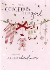Baby Girl 1st Christmas  Embellished Card