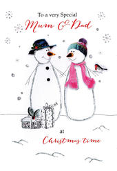 Mum & Dad Embellished Christmas Card