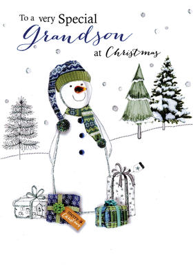 Grandson Embellished Christmas Card