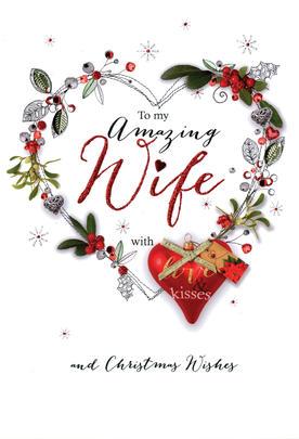 Amazing Wife Embellished Christmas Card