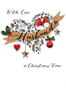 Husband Embellished Christmas Card