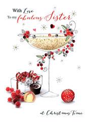 Fabulous Sister Embellished Christmas Card