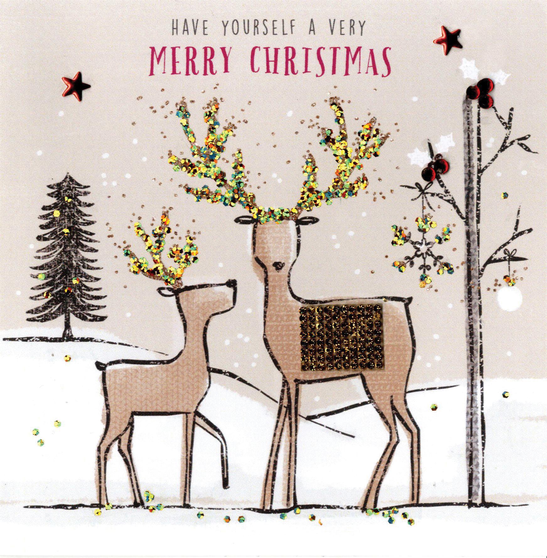 individual embellished reindeers christmas card hand