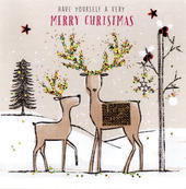 Individual Embellished Reindeers Christmas Card Hand-Finished