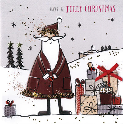 Individual Embellished Jolly Christmas Card Hand-Finished