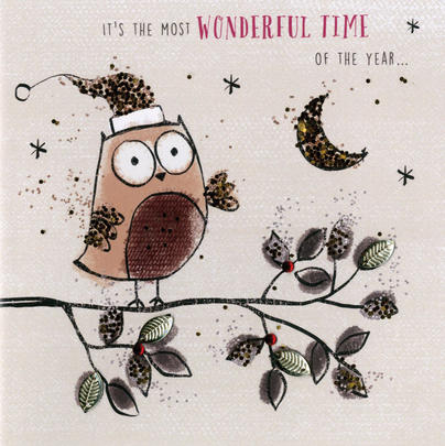 Individual Embellished Owl Christmas Card Hand-Finished