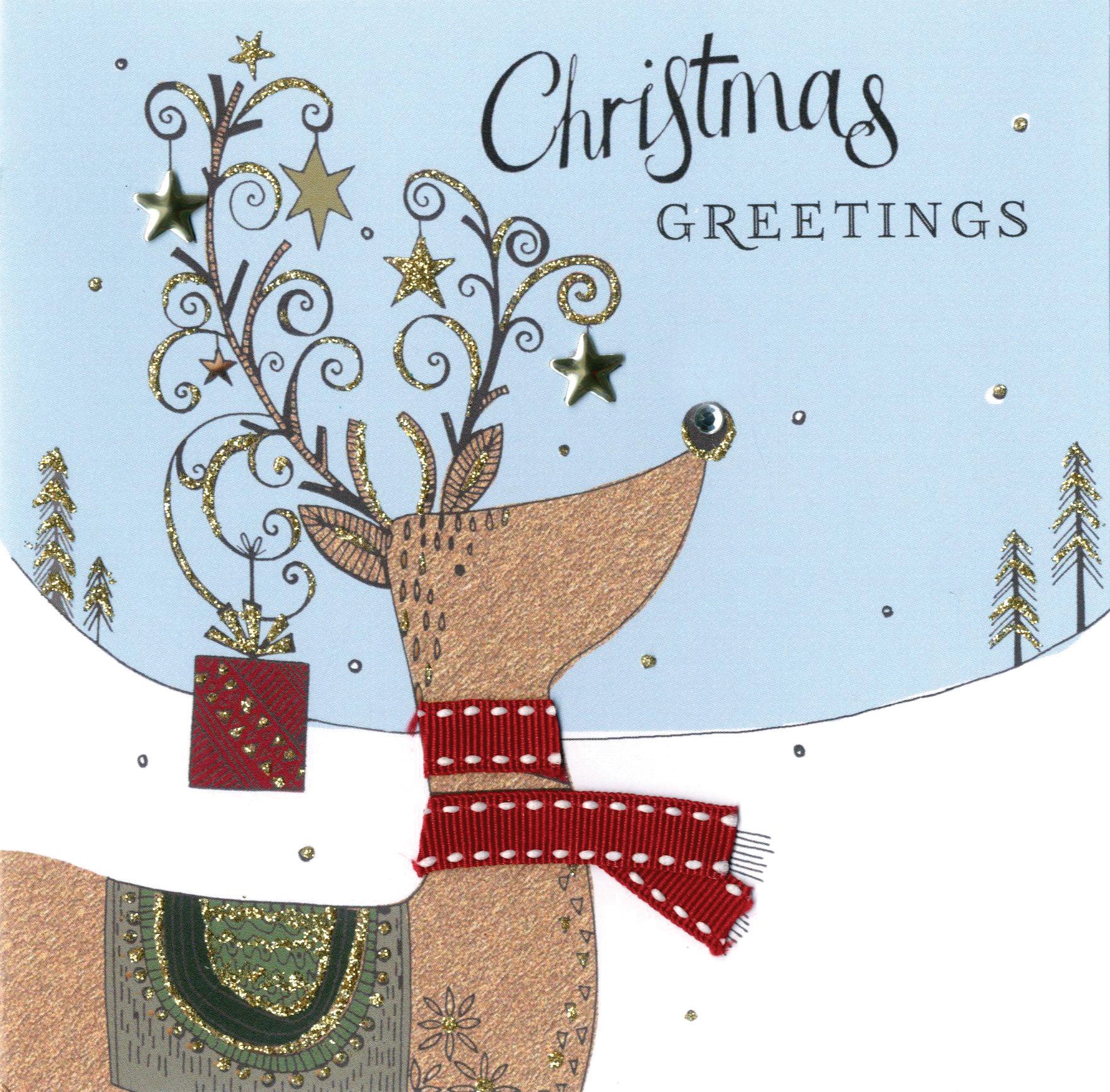 Reindeer Christmas Cards.Individual Embellished Reindeer Christmas Card