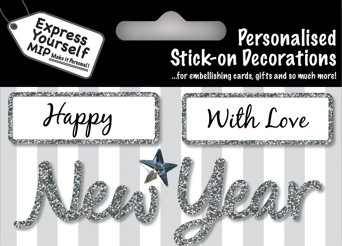 Details About Silver Happy New Year Diy Greeting Card Toppers Personalise Handmade Cards
