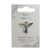 Never Give Up Silver Coloured Angel Pin With Gem Stone