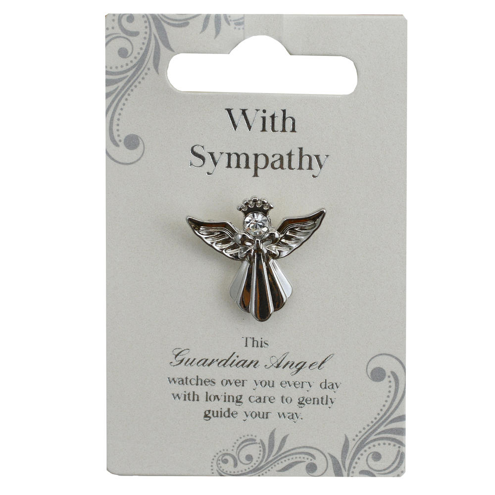 With Sympathy Silver Coloured Angel Pin With Gem Stone