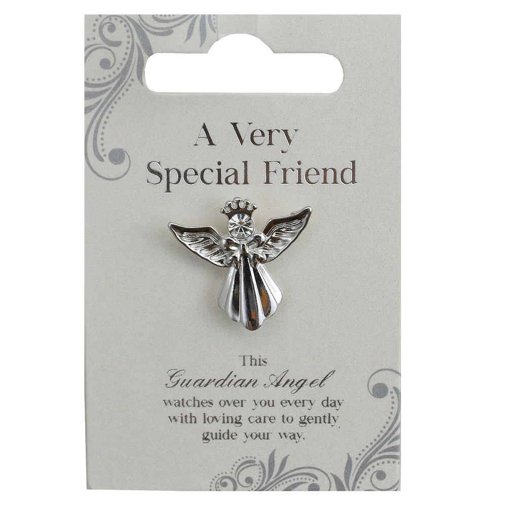 Very Special Friend Silver Coloured Angel Pin With Gem Stone