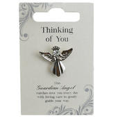 Thinking Of You Silver Coloured Angel Pin With Gem Stone