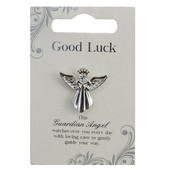 Good Luck Silver Coloured Angel Pin With Gem Stone
