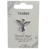 Mother Silver Coloured Angel Pin With Gem Stone