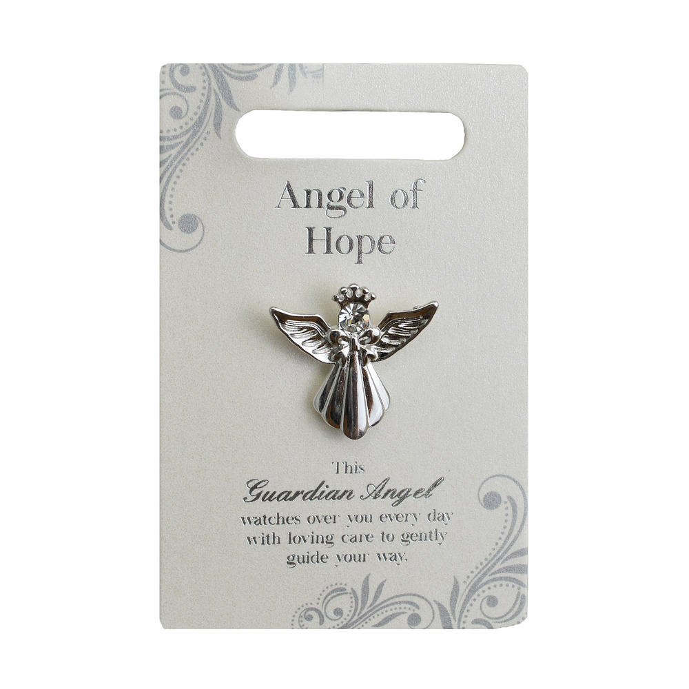 Angel Of Hope Silver Coloured Angel Pin With Gem Stone