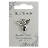 Safe Travels Silver Coloured Angel Pin With Gem Stone