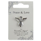 Peace & Love Silver Coloured Angel Pin With Gem Stone