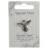 Special Mum Silver Coloured Angel Pin With Gem Stone
