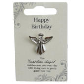 Happy Birthday Silver Coloured Angel Pin With Gem Stone