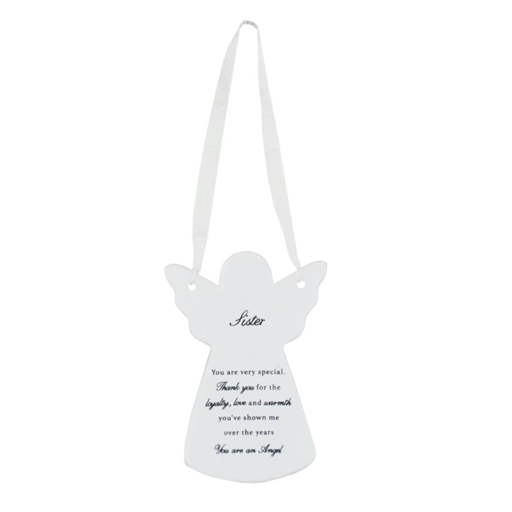 Sister Ceramic Hanging Guardian Angel With Ribbon