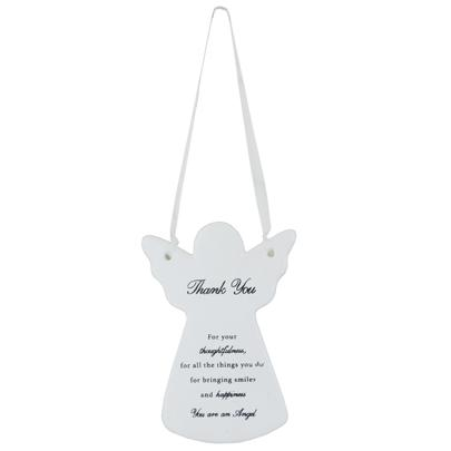 Thank You Ceramic Hanging Guardian Angel With Ribbon