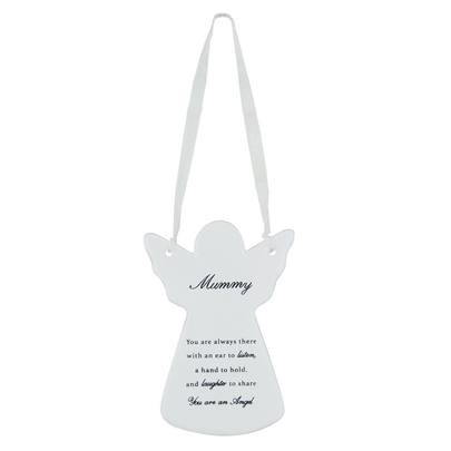 Mummy Ceramic Hanging Guardian Angel With Ribbon