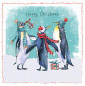 Pack of 5 Christmas Penguins Traditional Christmas Cards