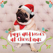 3D Holographic Pugs & Kisses Christmas Greeting Card