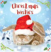 3D Holographic Bunny Christmas Wishes Greeting Card