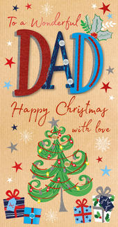 Wonderful Dad Embellished Christmas Greeting Card