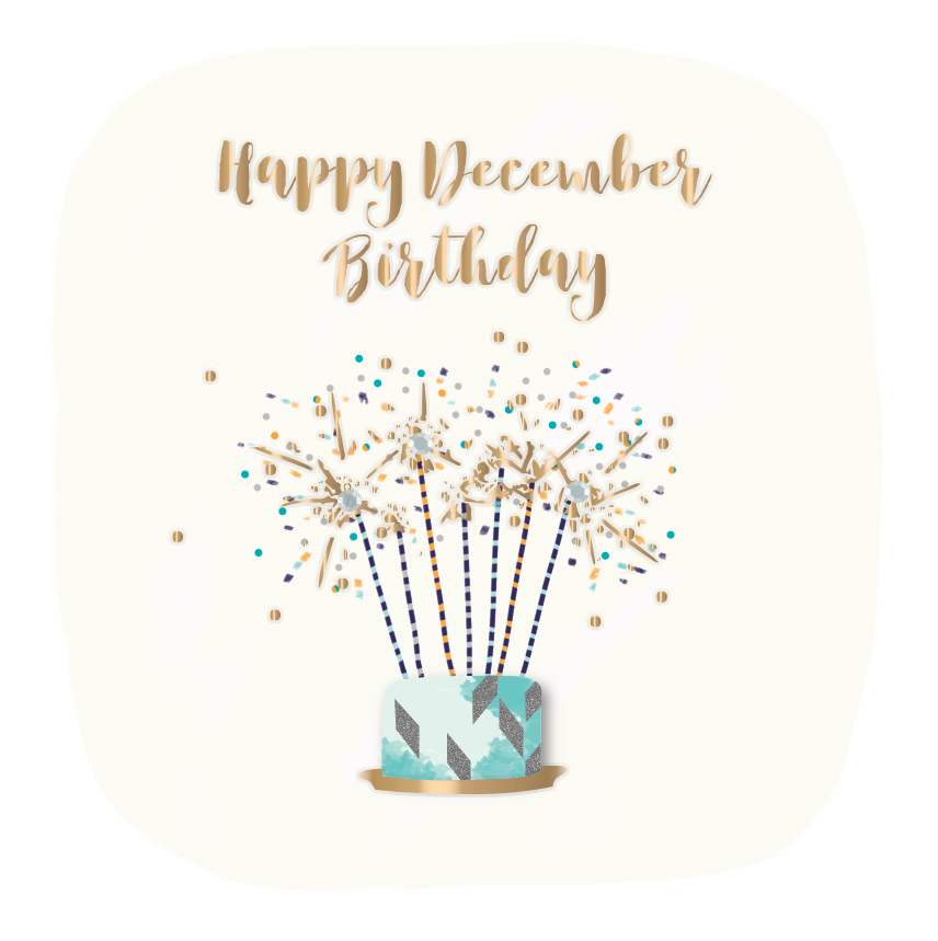 Happy December Birthday Embellished Greeting Card Cards Love