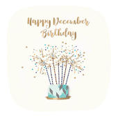 Happy December Birthday Embellished Greeting Card