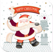 Santa Happy Christmas Embellished Christmas Card