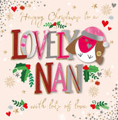 Nan Happy Christmas Embellished Christmas Card