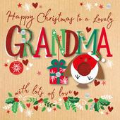 Grandma Happy Christmas Embellished Christmas Card