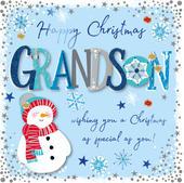Grandson Happy Christmas Embellished Christmas Card