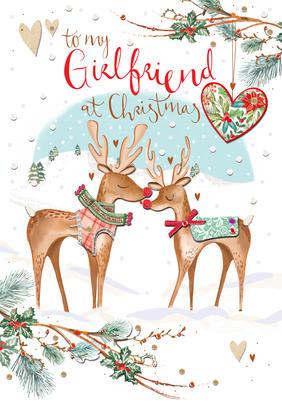 Girlfriend Embellished Christmas Greeting Card