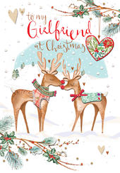 Girlfriend Embellished Christmas Greeting Card