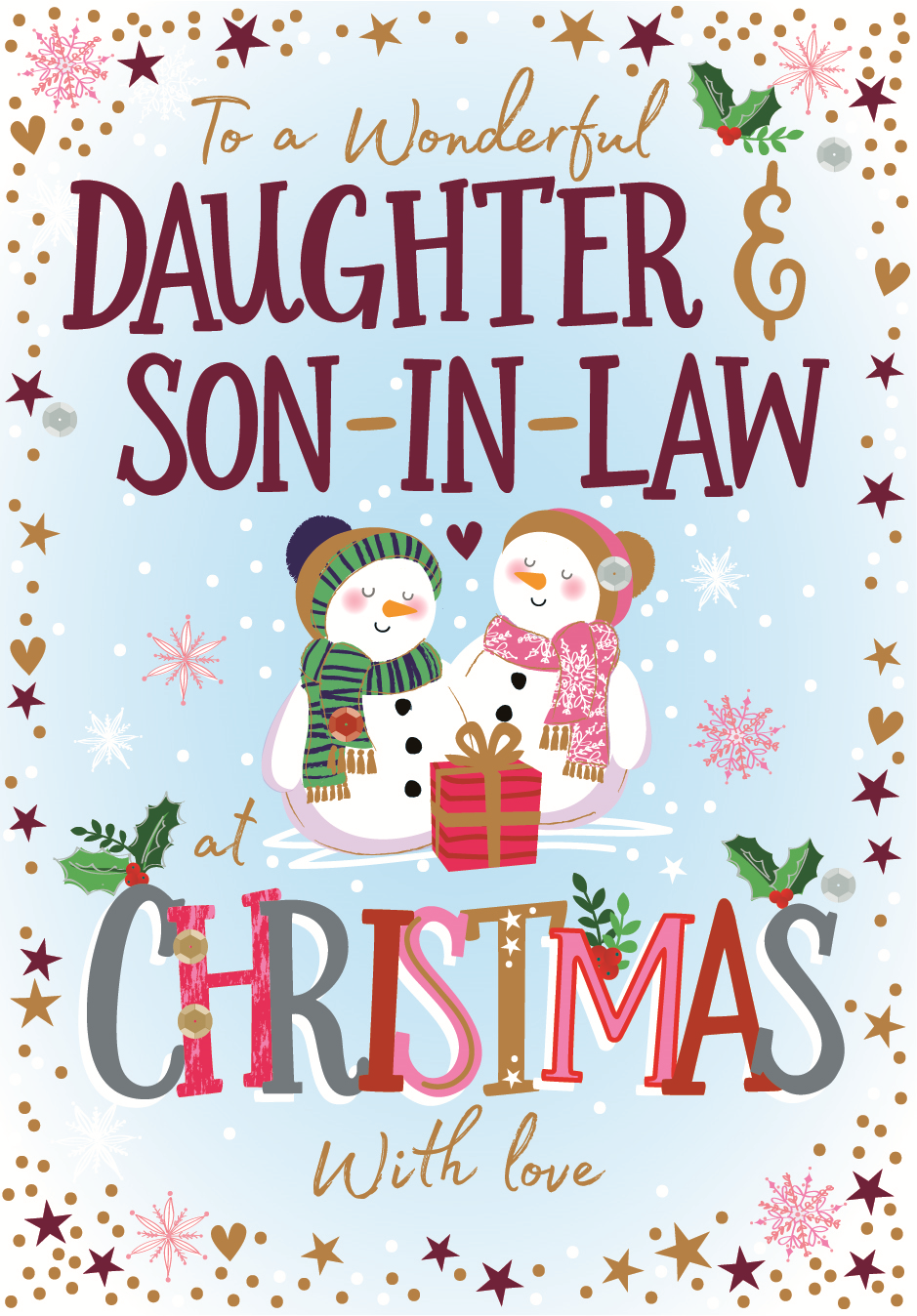 Christmas Wishes Card.Daughter Son In Law Embellished Christmas Greeting Card