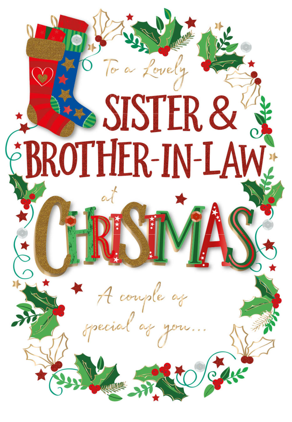 Sister & Brother-In-Law Embellished Christmas Greeting ...