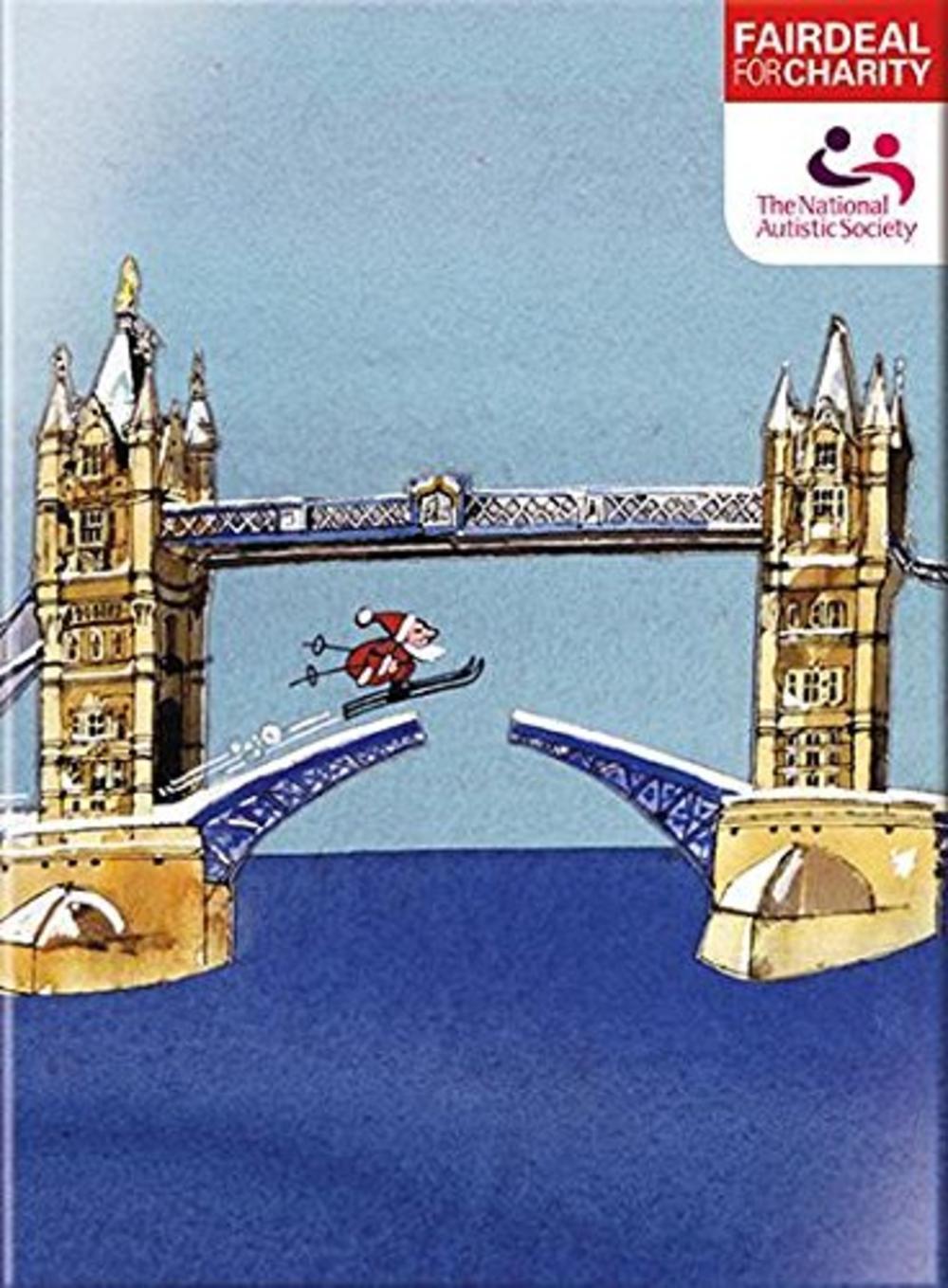 Box of 10  Skiing Santa Autistic Society Charity Christmas Cards