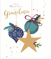Wonderful Grandma Embellished Christmas Greeting Card